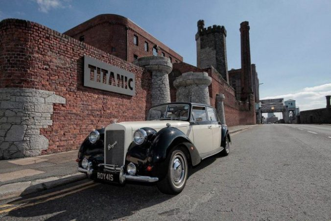 Royale windsor wedding car outside The Titanic hotel wedding venue Liverpool Merseyside UK