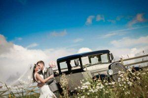Barringtons Wedding cars wedding car west tower Aughton bride and groom